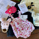 "KIT - 18"" Reborn style Baby Panda in curly kid mohair - PINK BUTTERFLY outfit"