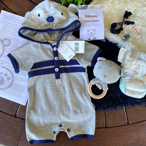 "KIT - 18"" Reborn style Baby Panda in curly kid mohair - GREY HOODIE outfit"
