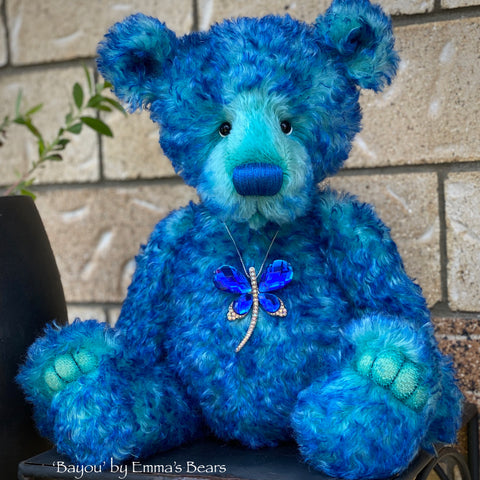 "Bayou - 17"" curly kid mohair bear by Emmas Bears - OOAK"