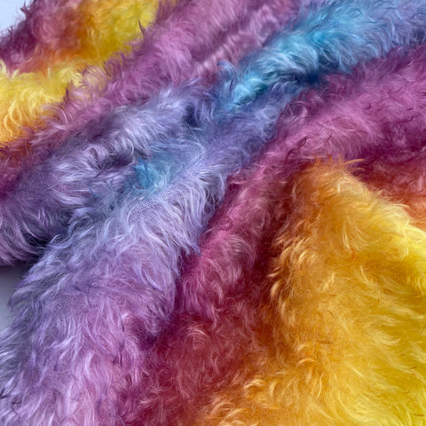 Bianca Mohair - Hand Dyed Warm Rainbow - Oversized 1/8m - MAR012