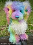 "KIT - 17"" SILKDEW bear in curly hand dyed rainbow mohair - MAR021"