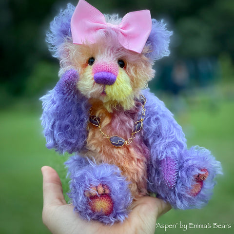 "Aspen - 9"" hand dyed kid mohair bear by Emmas Bears - OOAK"