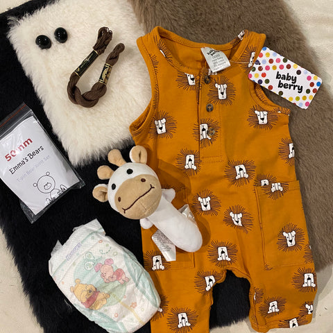 "KIT - 18"" Reborn style Baby Alpaca Bear - with mustard outfit"