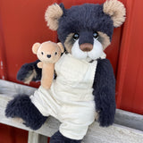 "KIT - 18"" Reborn style Baby Alpaca Bear - with corduroy overalls"