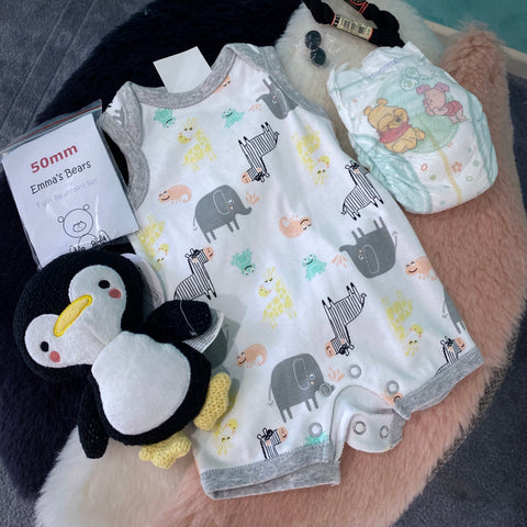 "KIT - 18"" Reborn style Baby Alpaca Bear - with animal romper"