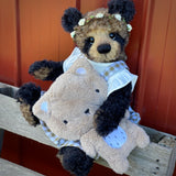 "KIT - 18"" Reborn style Baby Panda in curly kid mohair - Gingham Pinafore"