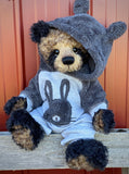 "KIT - 18"" Reborn style Baby Panda in curly kid mohair - Bunny Hoodie"