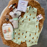 "KIT - 18"" Reborn style Baby Bear curly kid mohair - Mint Overalls"