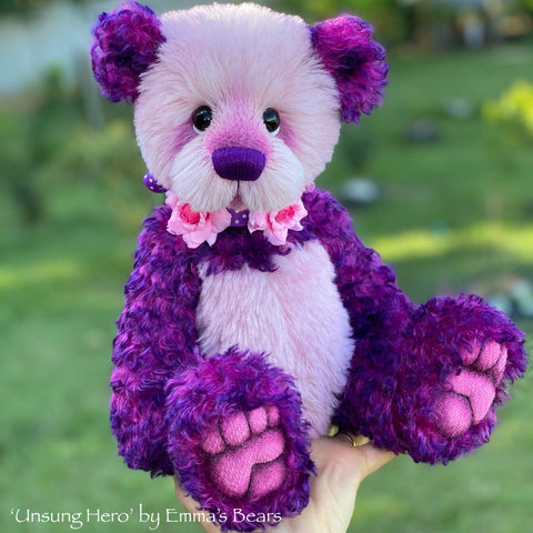 "Unsung Hero - 14"" Mohair and Alpaca Artist Bear by Emma's Bears - OOAK"