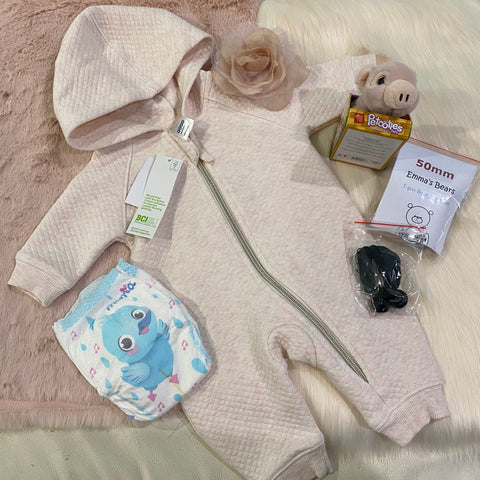 "KIT - 18"" Pink Faux Fur Reborn style Baby Bear - with quilted hoodie outfit"