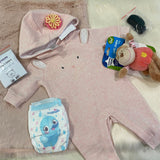 "KIT - 18"" Pink Faux Fur Reborn style Baby Bear - with bunny hoodie outfit"