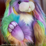 "Bliss - 21"" rainbow faux fur artist bunny by Emma's Bears - OOAK"