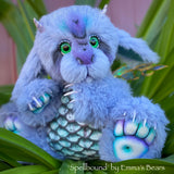 "Spellbound - 15"" hand dyed Artist Baby Dragon by Emmas Bears - OOAK"