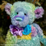 "Freddie Featherfog - 17"" Rainbow Kid Mohair Artist Bear by Emma's Bears - OOAK"