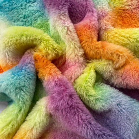 Medium Alpaca  - Hand Dyed Rainbow Patches - Fat 1/4m  - AUG042