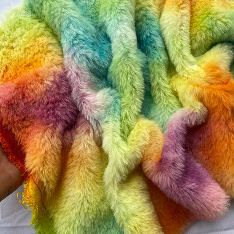Medium Alpaca  - Hand Dyed Rainbow Patches - Fat 1/4m  - AUG040