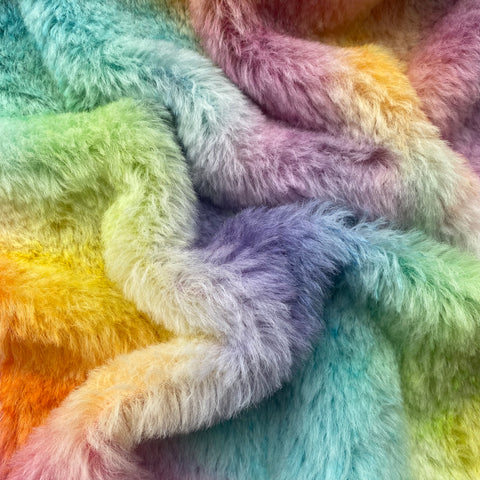 Medium Alpaca  - Hand Dyed Rainbow Patches - Fat 1/8m  - AUG031