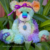 "Bonnie Bean - 15"" hand dyed rainbow curly kid mohair Artist Bear by Emma's Bears - OOAK"