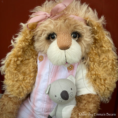 "Millie - 21"" Kid Mohair Toddler Artist BUNNY by Emma's Bears - OOAK"