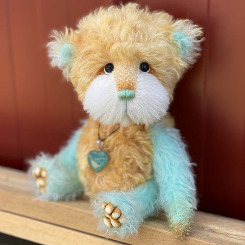"Tac - 8"" Hand-Dyed Mohair and Alpaca Artist Bear by Emma's Bears - OOAK in a Limited Series"