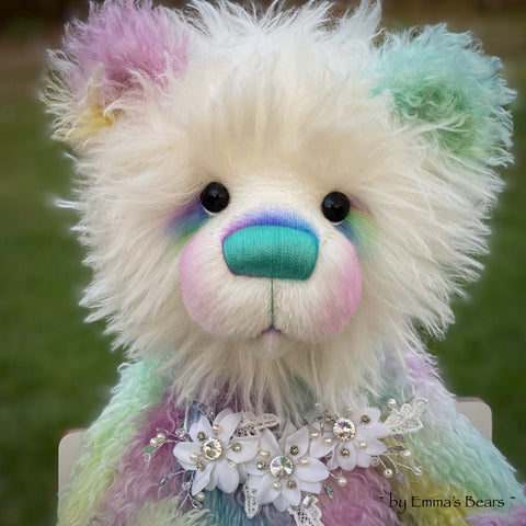 Sybella - 23IN hand dyed rainbow mohair bear by Emmas Bears - OOAK