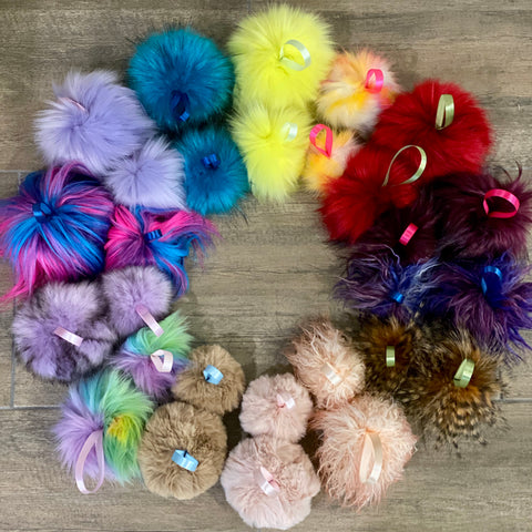 KITS - Make your own faux fur POMPOMS - your choice of FOURTEEN colours!!!