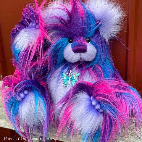 "Priscilla - 15"" faux fur Artist Bear by Emma's Bears - OOAK"