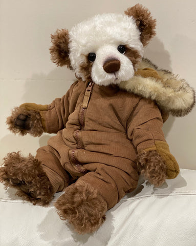 "KIT - 18"" Reborn style Baby Panda in curly kid mohair - BROWN hoodie outfit"