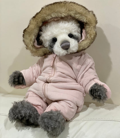 "KIT - 18"" Reborn style Baby Panda in curly kid mohair - PINK hoodie outfit"