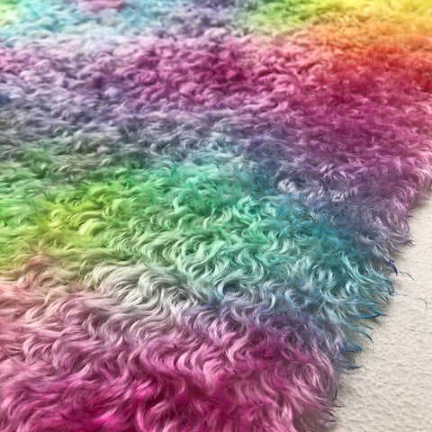 Crimped Mohair/Viscose - Hand Dyed Random Rainbow - Odd sized 1/4m - MAR012
