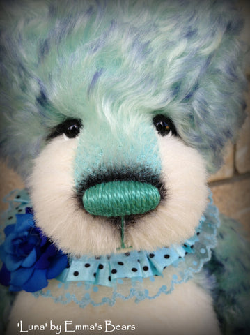 "Luna - 17"" aqua blue artist bear by Emma's Bears - OOAK"