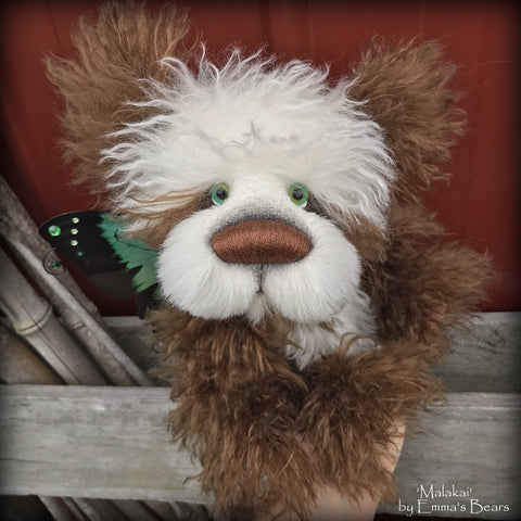 "Malakai - 11"" mohair and alpaca artist panda bear by Emmas Bears - OOAK"