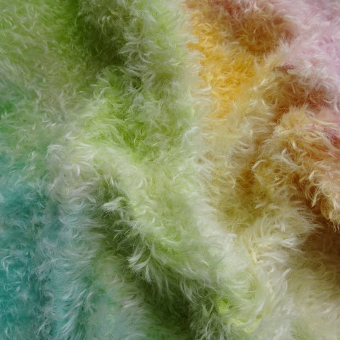 Double Thick Mohair - Hand Dyed Pastel Rainbow Speckle - Fat 1/4m -  MAY076