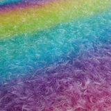 Double Thick Mohair - Hand Dyed Bright Rainbow - Fat 1/4m -  MAY077