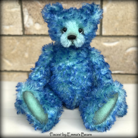 "Pisces - 14"" curly kid mohair Artist Bear by Emmas Bears - OOAK"