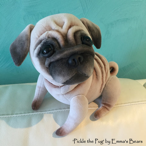 Pickle the Pug - 10IN soft sculpture pug puppy by Emmas Bears - OOAK