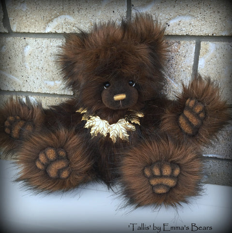 "Tallis - 15"" faux fur artist bear  - OOAK by Emma's Bears"