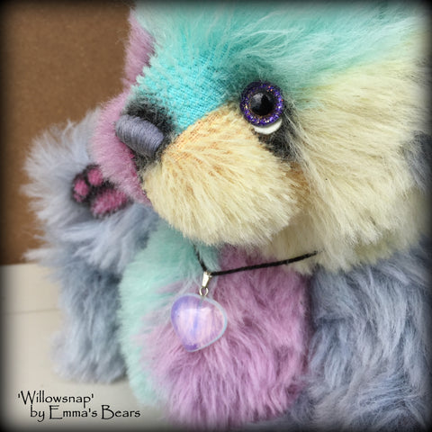 Willowsnap - 9IN hand dyed alpaca bear by Emmas Bears - OOAK
