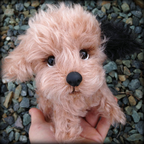 Zoey Pup - 8IN mohair puppy soft sculpture by Emmas Bears - OOAK