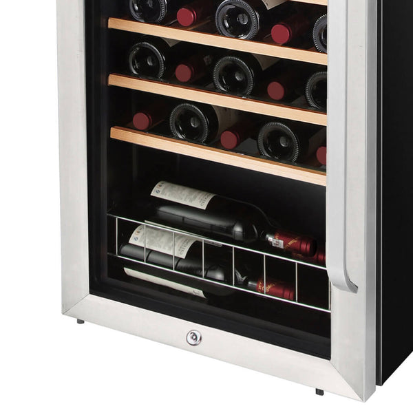 Whynter 34 Bottle Freestanding Stainless Steel Wine Refrigerator with Display Shelf and Digital Control FWC-341TS