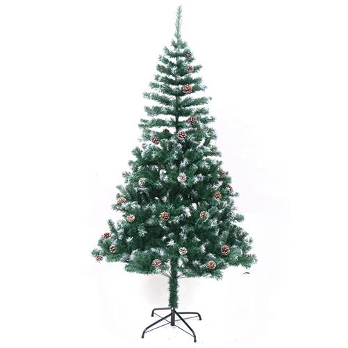 Luscious Artificial Indoor Christmas Holiday Pine Tree - 6 Foot - with White Tips and Decorative Pine Cones