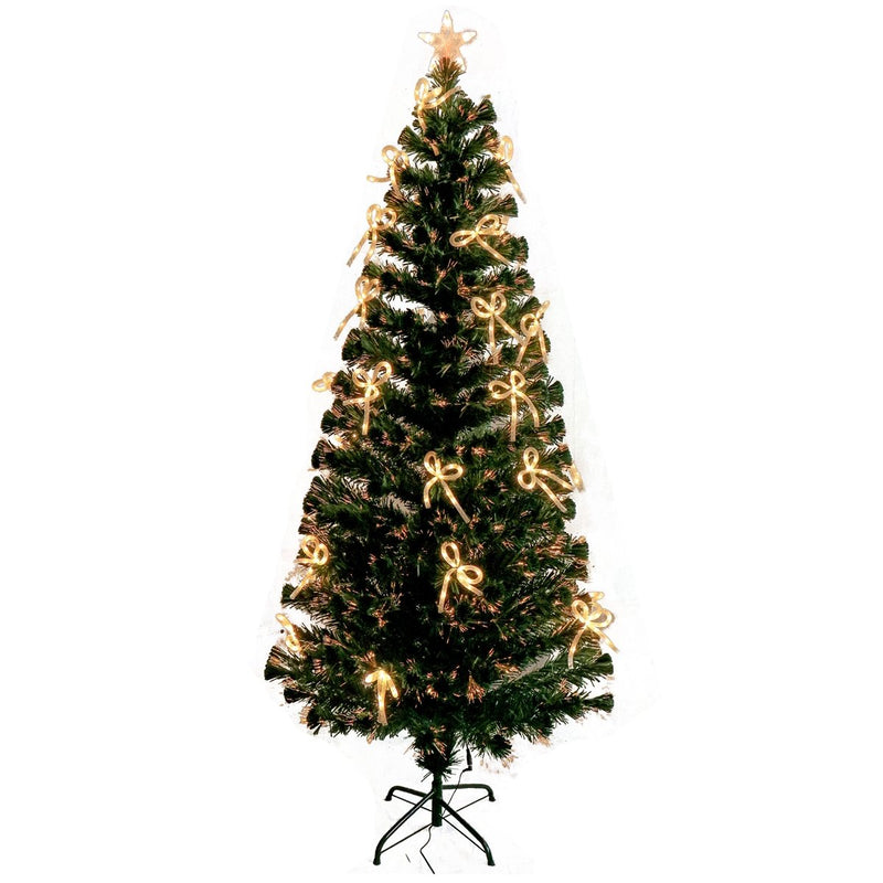 Artificial Indoor Christmas Holiday Optics Tree with White LED Bows - 6 Foot