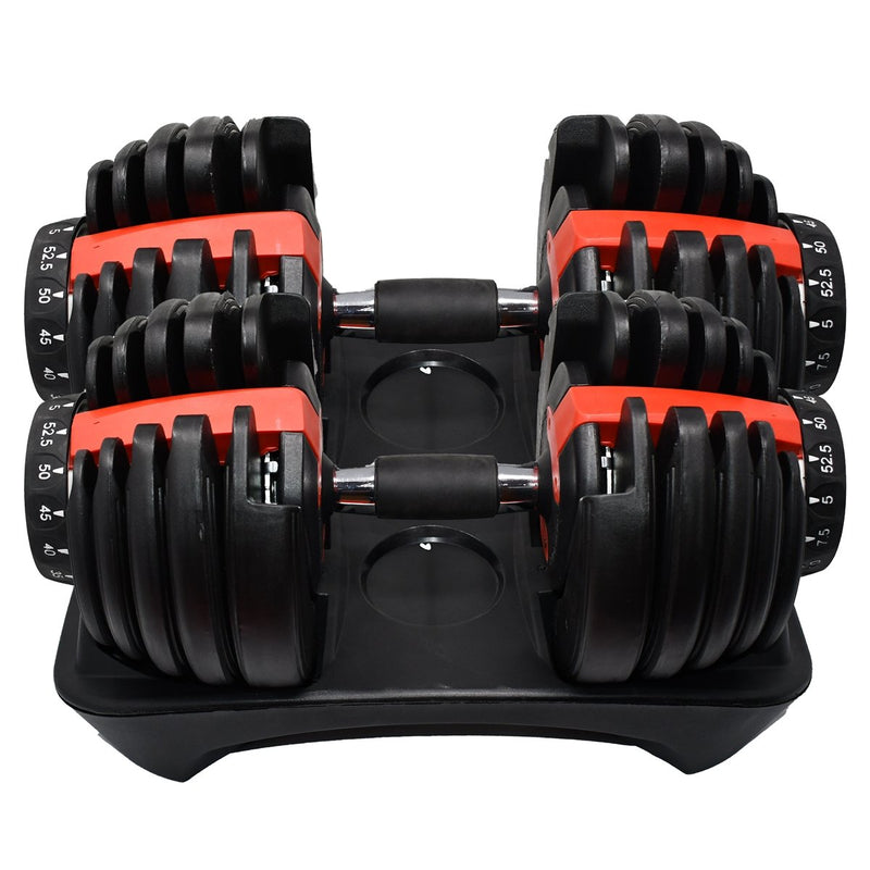 Adjustable Dumbbell Weight for Home Gym - 5 to 52.5 lbs - Set of 2 - Black and Red