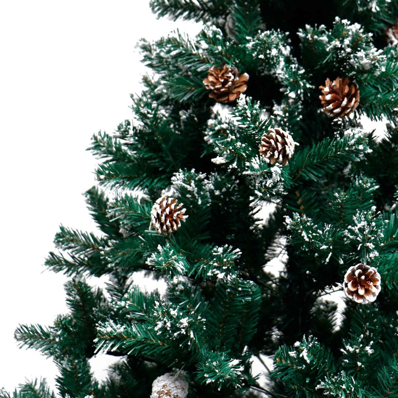 Snow Dusted Artificial Christmas Tree with Pine Cones - 8 Foot