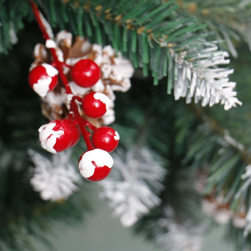 Artificial Christmas Tree with White Tips, Pine Cones, and Berry Clusters - 5 Foot