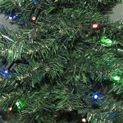 Artificial Indoor Christmas Holiday Tree - 4 Foot - with 50 Multicolored LED Lights - Green Color