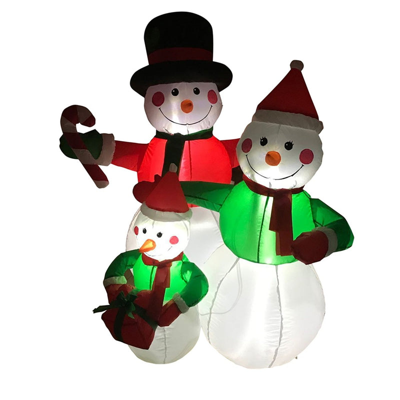 Inflatable Family of Festive Snowmen with UL Certified Blower - 4 Foot