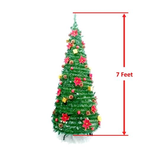 Instant Pop Up Christmas Holiday Tree - Decorations Included - 7 Foot