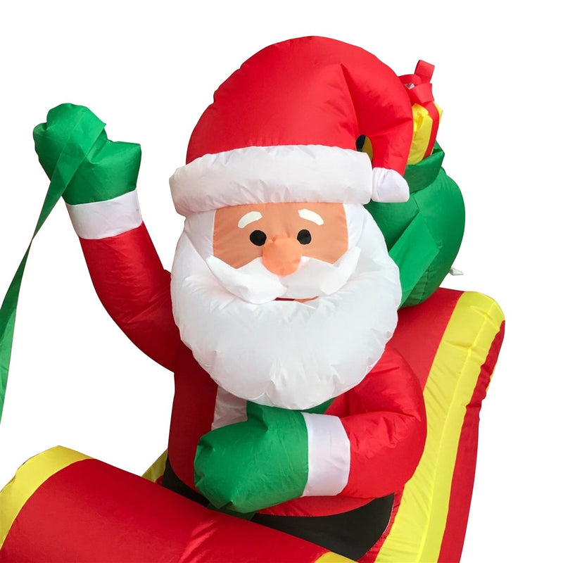 Inflatable Santa and Reindeer Delivery Trio with UL Certified Blower - 8 Foot