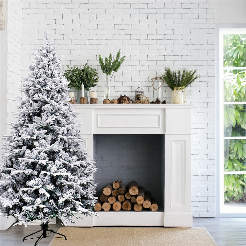 Deluxe Artificial Indoor Christmas Holiday Tree - 8 Foot - Snow Dusted